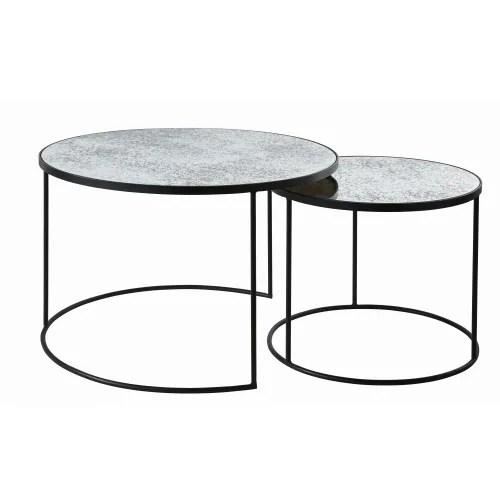 tables gigognes rondes en verre trempe effet miroir maisons du monde
