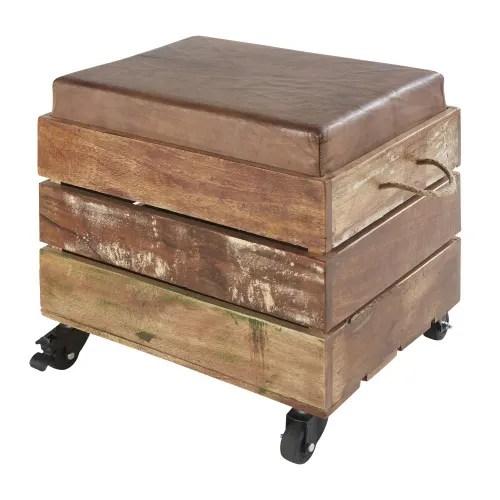 tabouret coffre en bois recycle et cuir de chevre marron maisons du monde