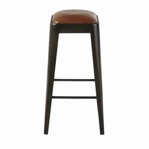 tabouret de bar en cuir marron et metal noir maisons du monde