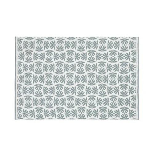 tapis d exterieur beige imprime feuillages verts 140x200 maisons du monde