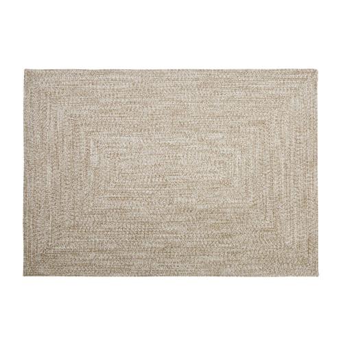 tapis d exterieur en polyester recycle beige 140x200 maisons du monde
