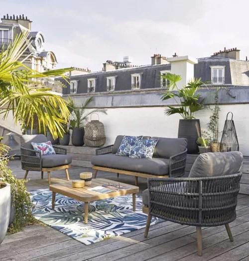 tapis d exterieur en polypropylene ecru imprime 160x230 maisons du monde