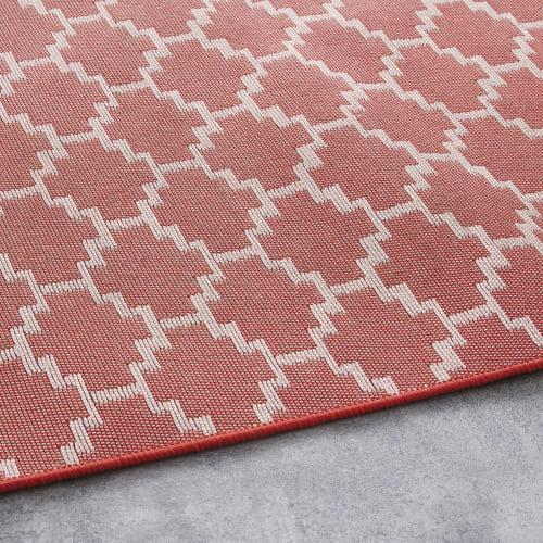 tapis d exterieur orange a motifs multicolores 140x200 maisons du monde