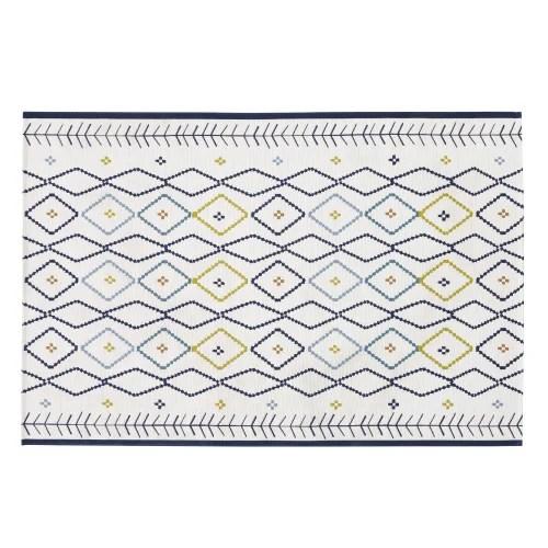 tapis d exterieur tisse ecru motifs graphiques multicolores 160x235 maisons du monde