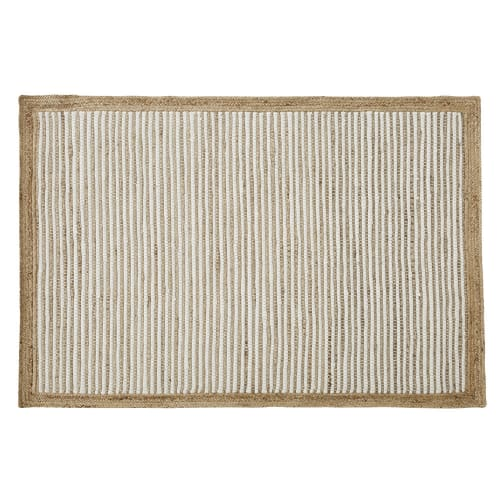 tapis en coton blanc et jute tisses main 140x200 maisons du monde