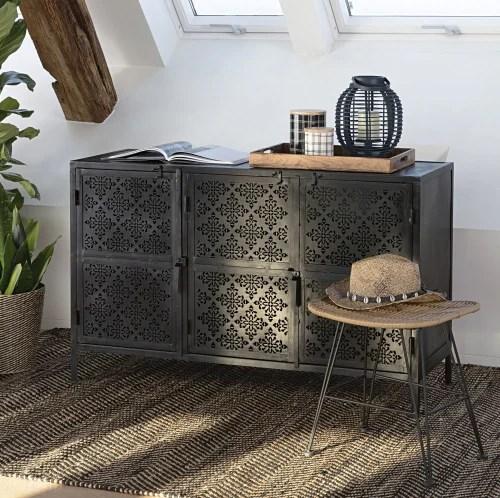 tapis en coton et jute noir et marron motifs a chevrons 160x230 maisons du monde