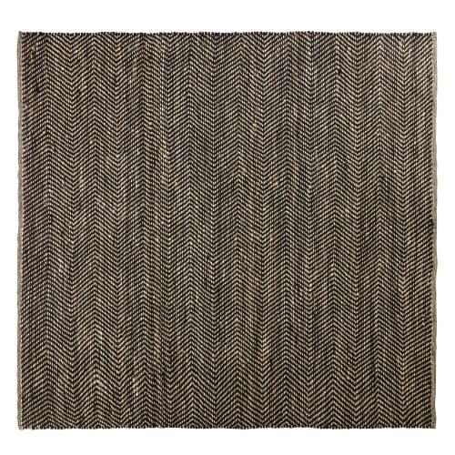 tapis en coton et jute noir et marron motifs a chevrons 200x200 maisons du monde