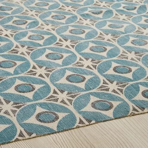tapis en coton motifs carreaux de ciment bleus 160x230cm maisons du monde