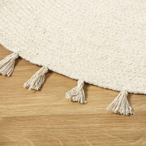 tapis rond a pompons en coton ecru d100 maisons du monde