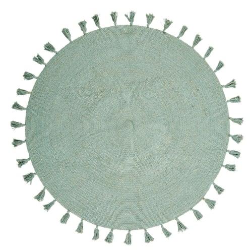 tapis rond a pompons en coton vert d100 maisons du monde