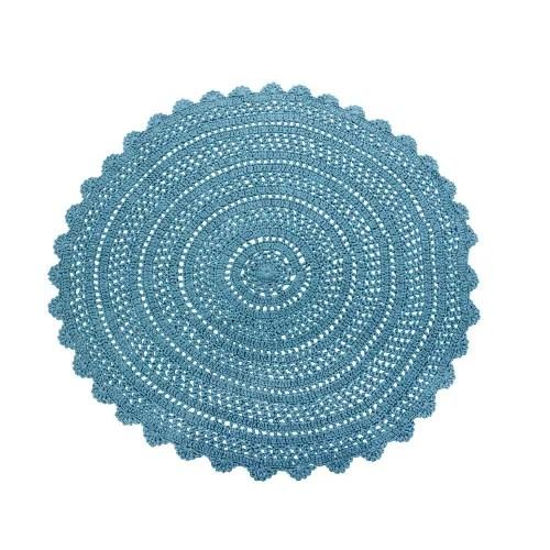 tapis rond en coton bleu au crochet d160 maisons du monde