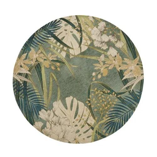 tapis rond tisse jacquard vert motif vegetal d200 maisons du monde