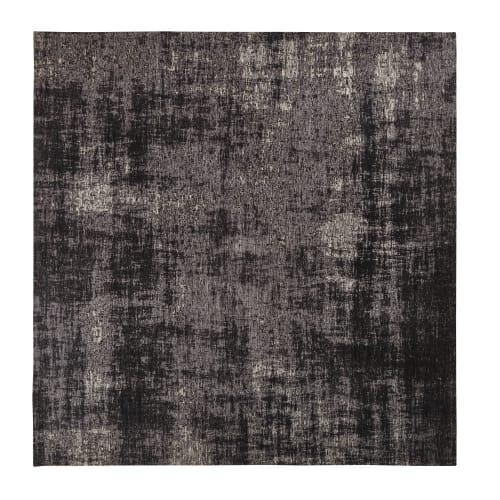tapis tisse jacquard noir 200x200 maisons du monde