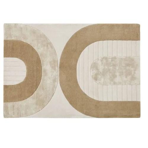 tapis tufte a la main beige blanc et marron motifs arches 160x230 maisons du monde