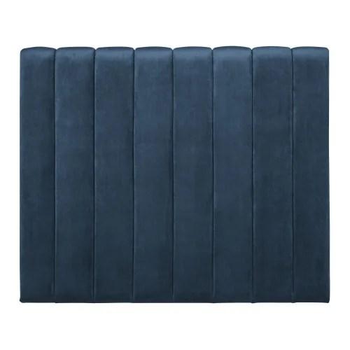 tete de lit matelassee 180 en velours bleu maisons du monde