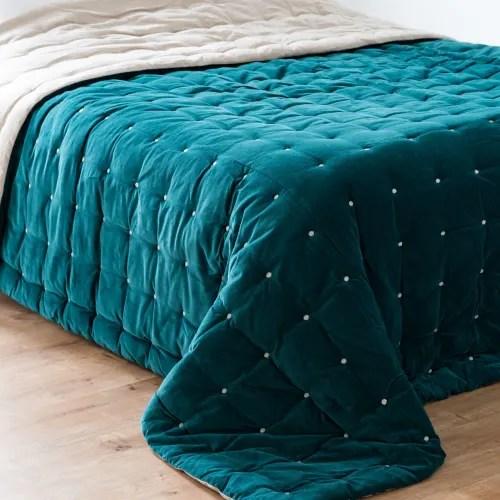 Dai un'occhiata ai nostri mobili e oggetti decorativi e fai i pieno di ispirazione! Trapunta In Velluto Blu Anatra E Beige 240x260 Cm Calio Maisons Du Monde