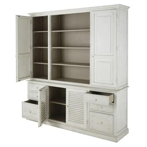 vaisselier 6 tiroirs blanc et gris clair maisons du monde