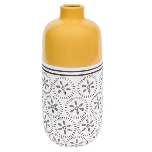 Vaso giallo con motivi in ceramica H30 Kilali