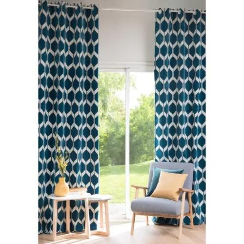 vorhang mit turkisblauen motiven 1 vorhang 140x300 maisons du monde
