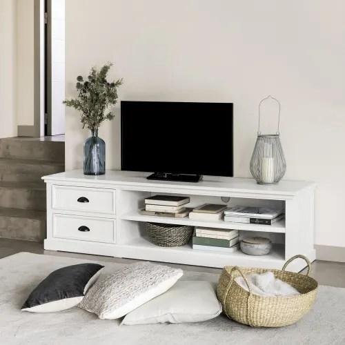 white 2 drawer tv unit maisons du monde