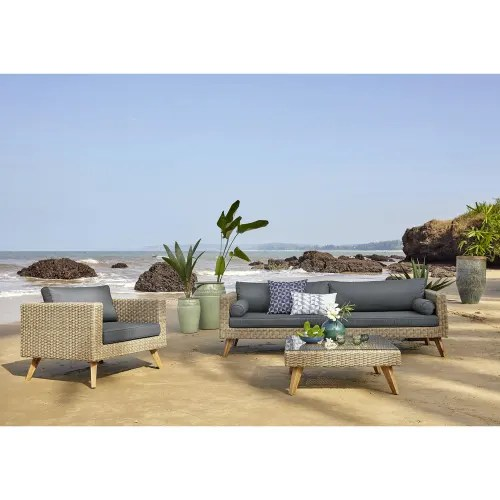 wicker and tempered glass garden coffee table w 80cm maisons du monde