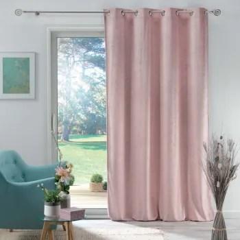 rideau en velours motif feuillage exotique polyester rose 280x140 maisons du monde