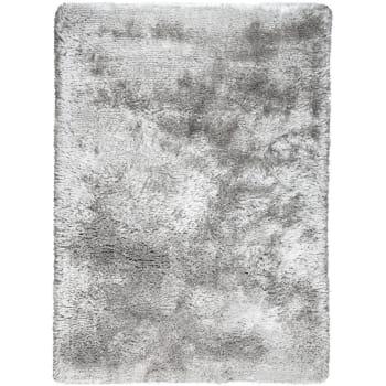 tapis shaggy poils long en polyester argent 170x240 maisons du monde
