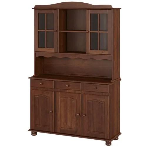 girada buffet vaisselier 5 portes 3 tiroirs en pin marron fonce maisons du monde