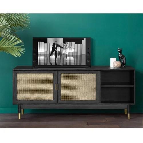 meuble tv design 2 portes bois et cannage noir maisons du monde
