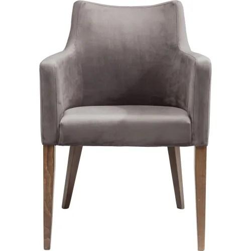 chaise avec accoudoirs en velours gris et hetre laque maisons du monde