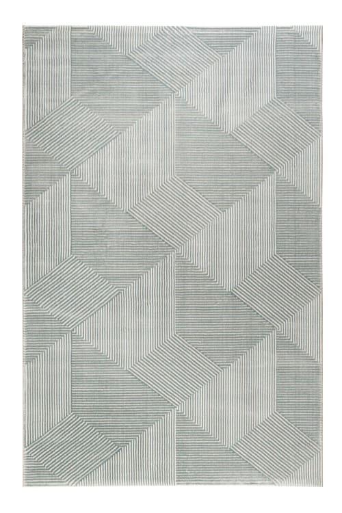 tapis motif geometrique a relief vert beige 200x133 maisons du monde