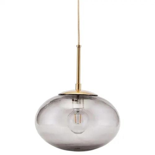 lampe suspension vintage en verre gris large 30cm maisons du monde
