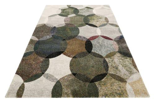 tapis motif cercles vintage vert gris pour salon chambre 290x200 maisons du monde