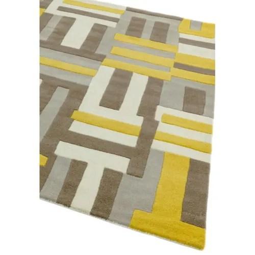 tapis en laine ecru gris taupe et jaune moutarde 160 x 230 maisons du monde