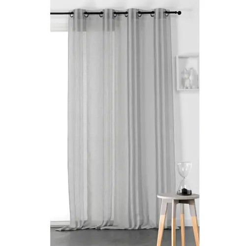 voilage tamisant a rayures polyester gris fonce 260x145 maisons du monde