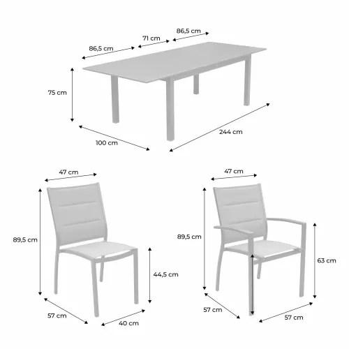 chicago ensemble table extensible et chaises 8 places gris chine maisons du monde