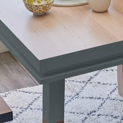 table repas carree bois massif bleu gris lehon maisons du monde