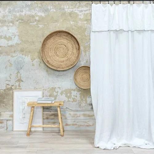 rideau lin lave milk bourdon noir 140x290 cm maisons du monde