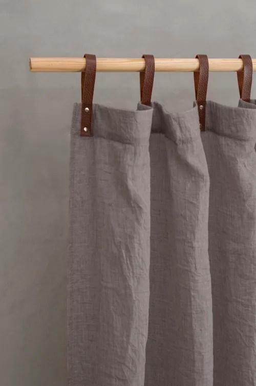 panneau voilage finition pattes aspect cuir gris fonce 245 x 135 maisons du monde