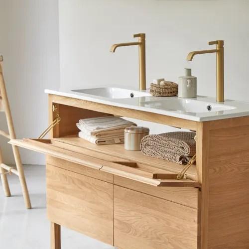meuble salle de bain en chene massif et ceramique 120 maisons du monde