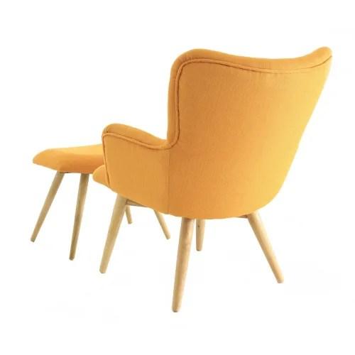 fauteuil vintage tissu et reposepieds jaune maisons du monde