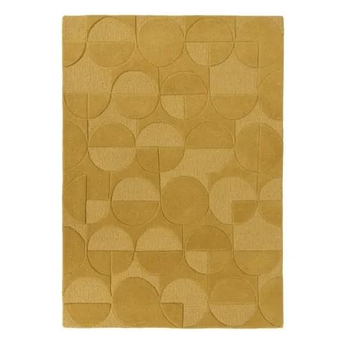 tapis geometrique design en laine jaune 120x170 maisons du monde