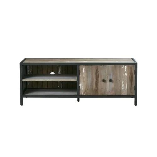 meuble tv 1 placard et 2 niches en pin recycle maisons du monde