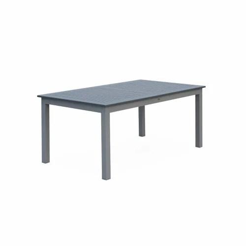 table extensible en aluminium gris 8 places maisons du monde
