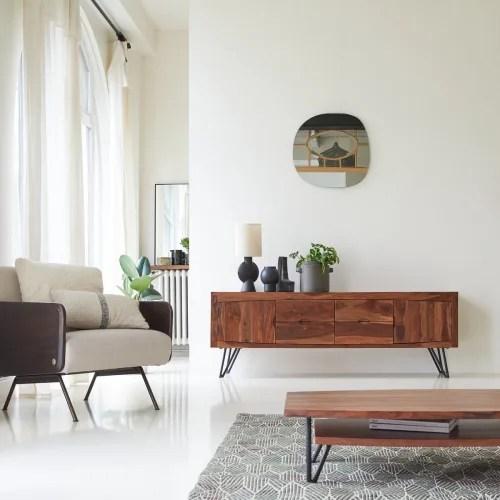 meuble tv en bois de palissandre massif 180 cm maisons du monde