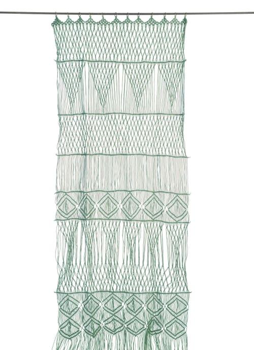 rideau portiere en macrame de coton 100x280 cm celadon maisons du monde