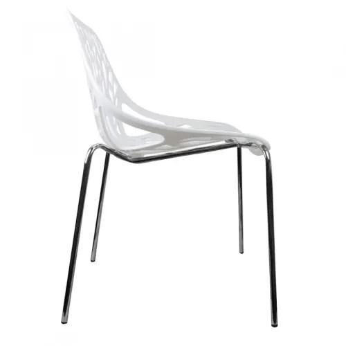lot 4 chaises blanches pieds metal chrome maisons du monde
