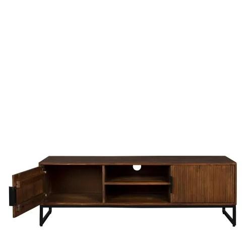 meuble tv en bois et metal bois fonce et noir maisons du monde