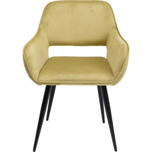 chaise avec accoudoirs en velours vert clair et acier maisons du monde