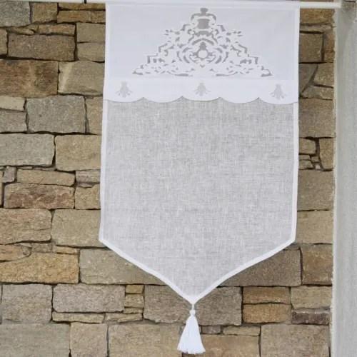 brise bise en lin blanc et broderies 45x70 cm maisons du monde